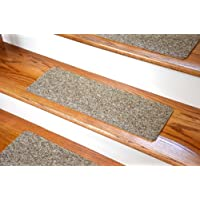 Dean Affordable Non-Skid DIY Peel & Stick Carpet Stair Treads - Color: Beige & Brown Tweed - Set of 13