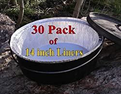 Disposable Foil Dutch Oven Liner, 30 Pack 14 8Q liners, No more Cleaning, Seasoning your Dutch ovens. Lodge, Camp Chef.