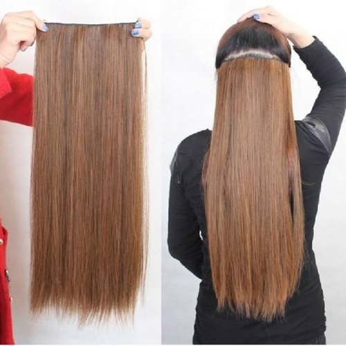Women Clip-in Straight Hair Piece Silky Hair Extensions Wig Light Brown