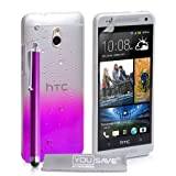 Yousave Accessories Raindrop Hard Cover with Stylus Pen for HTC One Mini - Purple/Clear
