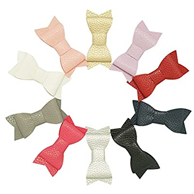 "CN 3"" Boutique Leather Baby Hair Bow with Clip Pack of 10"