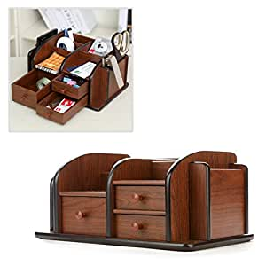Mygift classic brown wood office supplies - Wood desk organizer with drawers ...