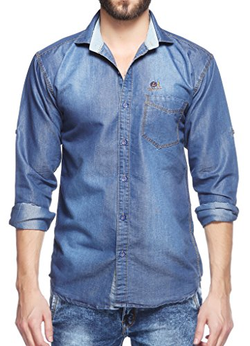 Fasnoya Men's Slim Fit Casual Denim Shirt (dms44-l_Blue_large)