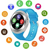 SEPVER Smart Watch SN05 Round Bluetooth Smartwatch with SIM Card Slot Compatible with Samsung LG Sony HTC HUAWEI Google Xiaomi Android Smart Phones for Women Men Kids Boys Girls (Blue)