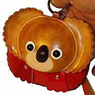 Handmade Leather Wristlet Purse, a Brown Girl Koala Bear Face on the Cover, Zipper Closure.