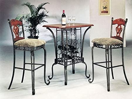 3pc Kitchen Wine Rack Oak Table & 2 Bar Stools Set
