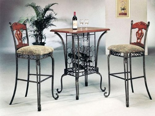 Where To Buy 3 Piece Bar Table Set With Wine Rack Base Bar Table And 2 Bar Chairs Ivanoffbayeews