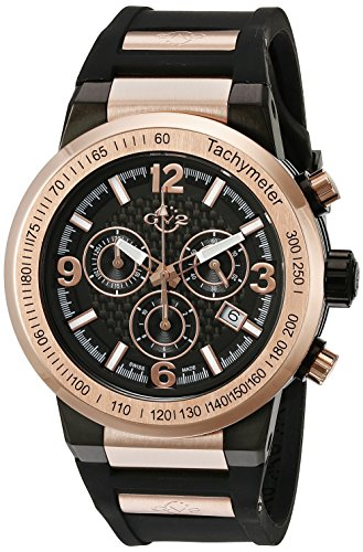 GV2by Gevril Hombre 8201Novara Analog Display reloj negro de cuarzo suizo