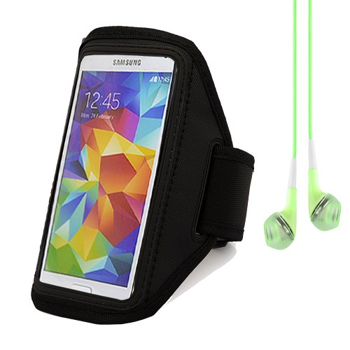 Running Jogging Sports Gym Armband Case Cover For Sony Xperia Z2 / Samsung Galaxy S5 / Htc One M8 (Black) + Green Vangoddy Headphones With Mic