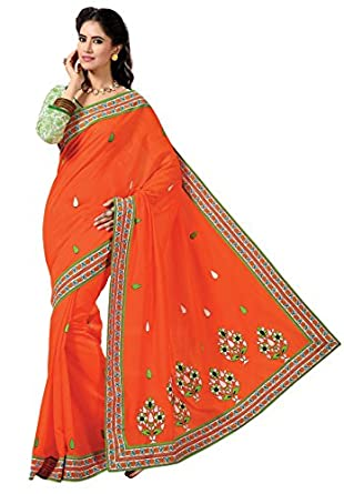 Triveni Indian Designer Party Wear Orange Divine Embroidered Cotton Saree available at Amazon for Rs.1318