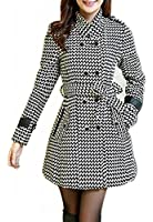 Wantdo Women's Double Breasted Houndstooth Funnel-Neck Wool Coats