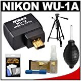 Nikon WU-1a Wireless Mobile Adapter Sends Images Directly to your iPhone or Android Smartphone or iPad Tablet + Tripod + Cleaning & Accessory Kit for D3200 Digital SLR Camera
