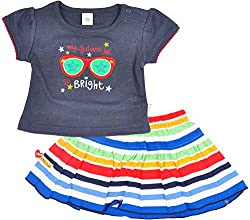 Toffy House Baby Girls' T-Shirt With Skirt Set (134_6-9 Months, Navy Blue, 6-9 Months)