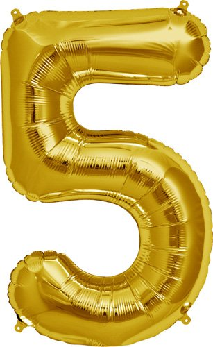 Number 5 - Gold Helium Foil Balloon - 34 inch