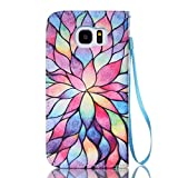 S7 Edge Case, Galaxy S7 Edge Case, ArtMine Colorful Sun Flowers PU Leather Magnetic Kickstand Flip Pouch Wallet Cover Case with Credit/ID Card Slot & Wrist Strap for Samsung Galaxy S7 Edge