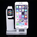 Iphone Stand Iwatch Stand 38mm and 42mm Ipad Stand[2 in 1]Charging Dock Charging Station, Charging Stand Holder Comfortable Viewing Stand for Iphone6 6s + 5 5s(Silver) Reviews