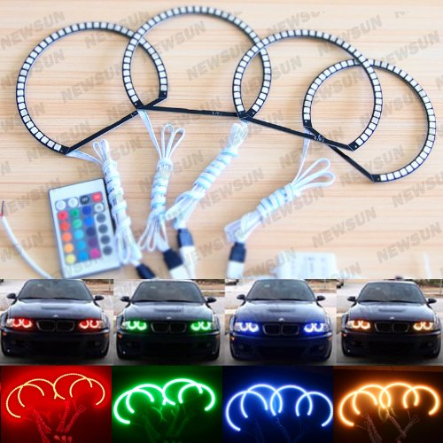 Newsun 5050Smd Car Angelic Eye Multi-Color Flash Rgb Led Angel Eyes Halo Ring Kits Headlight For Bmw E46 Non-Projector