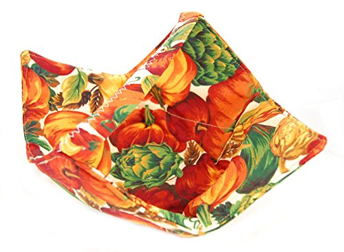 Fabric Microwave Bowl With Handle - Handmade In The Usa - Fresh Veggies