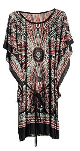 Spikerking Women's Beach Cover UP Ice Silk Loose Dress/Batwing Sleeve,Black