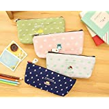 ANFIMU Adorable Animal Memories Pastorable Canvas Pen Pencil Stationery Pouch Bag Case,set of 4