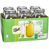 Ball Wide Mouth Half Gallon (64 Oz) Jars with Lids and Bands, Set of 6