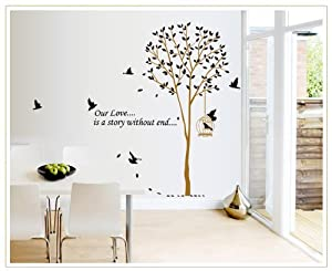 OneHouse Our Love is A Story Without End Quote Tall Tree with Birds Wall Decal Leaves Wall Sticker Decor from OneHouse