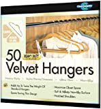 Closet Complete Ultra Thin Heavy Duty No Slip Velvet Suit Hangers, Camel, Set of 50
