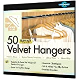 Closet Complete Ultra Thin Heavy Duty No Slip Velvet Suit Hangers, Camel, Set of 50 ~ Closet Complete
