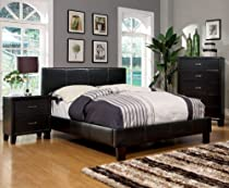 Hot Sale Furniture of America Lauren Leatherette Upholstered Platform Bed, Full, Dark Espresso