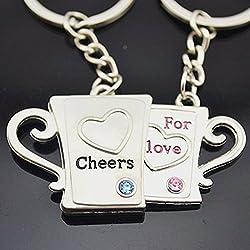 Ashiana Love Couple Mugs pendant key chain (pair) Valentine special