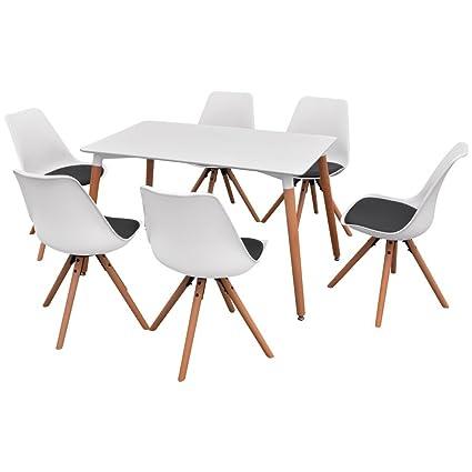 vidaXL 7-tlg. Essgruppe Sitzgruppe Tischset Esszimmer Stuhle Weiß und Schwarz