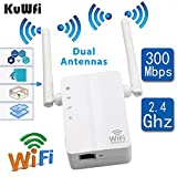 KuWFi Wireless N Wifi Repeater 802.11n/b/g Network Router Range Expander 300Mbps 2dbi Antennas Signal Boosters-US Version (Color: white)