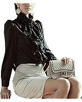 BININBOX Damen Bluse Langarm Elegant Stehkragen mit Puffärmeln und Volants Rüschung