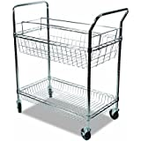 Alera Wire Mail Cart, Chrome