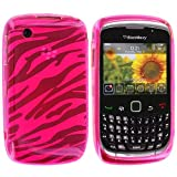 Hot Pink Zebra TPU Rubber Skin Case Cover for Blackberry Curve 8520 8530 3G 9300 9330
