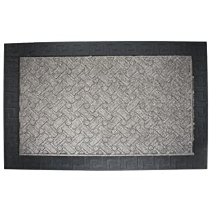J & M Home Fashions Greek Key Charcoal Duradeluxe Doormat, 24-Inch by 36-Inch