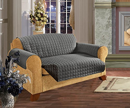 Elegant Comfort REVERSIBLE QUILTED Furniture Protector- Special Treatment Microfiber As soft as Egyptian Cotton, Gray Love Seat (Dog Couch Cover compare prices)