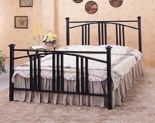 Full Size Satin Black Convex Mission Style Metal Bed Headboard & Footboard