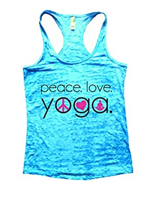 Peace Love Yoga Burnout Workout Racerback Tank Top Namaste Funny Threadz