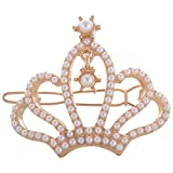Shining Diva White Gold Alloy Pearlstone Material Hair Clip For Women