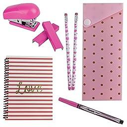 Fashion Back To School or Office Supply Bundle - Mini Stapler, Mini Notebook, Pencil Case, Pencils, Sharpie Pen (Pink)