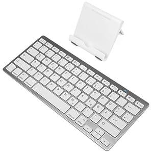 EasyAcc® Ultra-Slim Bluetooth 3.0 Tastatur (Gratis Ständer) Mini Wireless Tastatur für iPhone 5S 5C, iPad Air, iPad mini 2, Macbook, Samsung Galaxy, Android 3.0 und spätere Tablets, Smartphones & Tablet, PCs, Netbooks - Silber