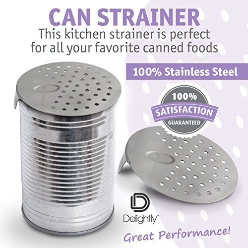 Delightly Can Drainer Strainer Colander Stainless Steel Unique No-Mess Dishwasher Safe Design