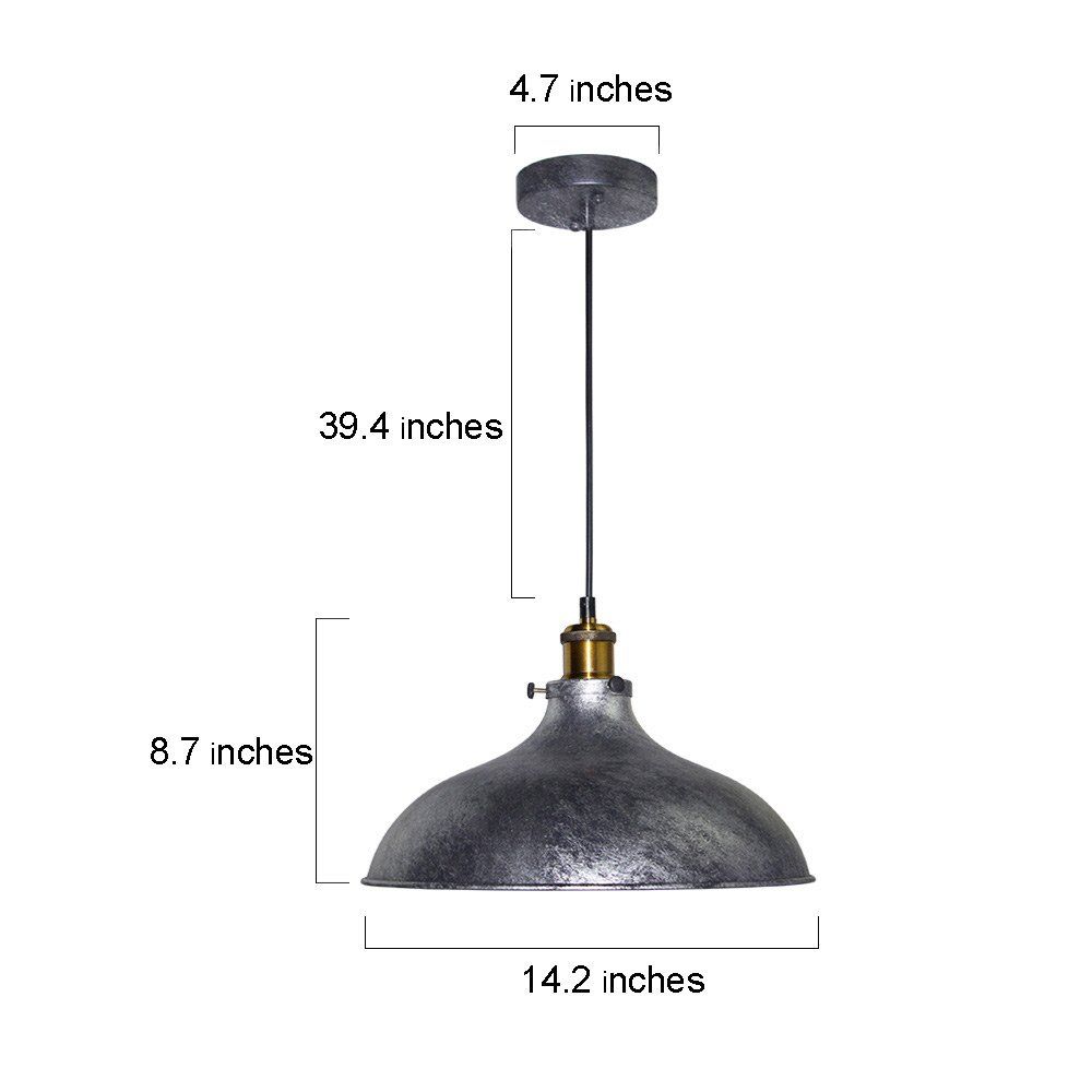LNC Vintage Pendant Lights, Industrial 1-light Adjustable Hanging Lights, Brass Finish, Gray Metal Shade 1