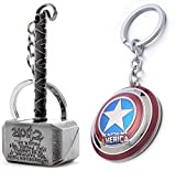 #1: EzziDeals High Quality Metal Captain America and Thor Keychain Combo.