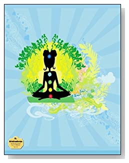 Yoga Lady Notebook - Great gift idea for any yoga fan! Silhouette of a yoga lady against a blue sunburst design makes a pretty cover for this blank and college ruled notebook with blank pages on the left and lined pages on the right.
