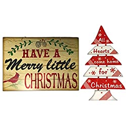 "Christmas Decorations For Your Home - Set of 2 Wooden Christmas Signs - ""Have A Merry Little Christmas"" and ""All Hearts Come Home For Christmas"" Tree"