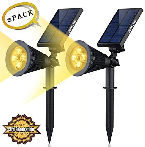 Dome Solar Wall Lights : Solar LED Lights (2 Pack) [3rd Generation] Siensync(TM) 2-in-1 Solar Powered Outdoor Spotlight ...
