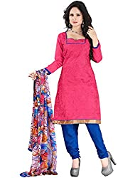 Yehii Latest New Collection Embroidered Low Price Best Sale Offer Pink Chanderi Unstitched Branded Dress Materials With Dupatta for Women's party Wear