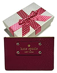 Kate Spade Wellesley Graham Card Case WLRU1147 with Gift Box (Red Plum)